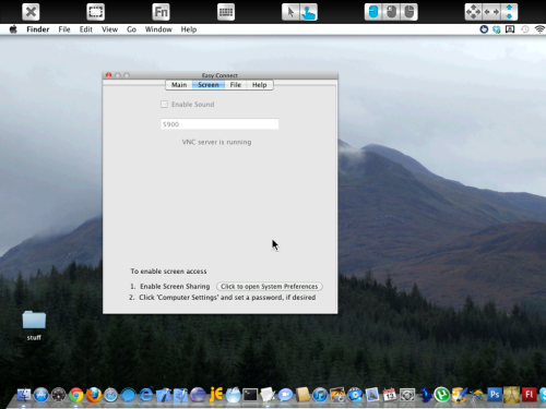 First view of desktop screen on the iPad.