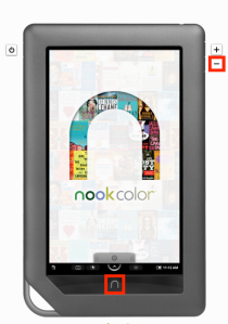 Nook Color screen shot - press both buttons simultaneously.