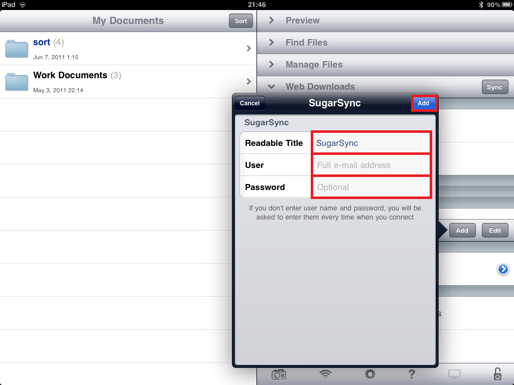 How to use SugarSync with GoodReader on the iPad and iPhone