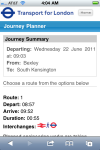 Transport for London - Journey Planner web app.