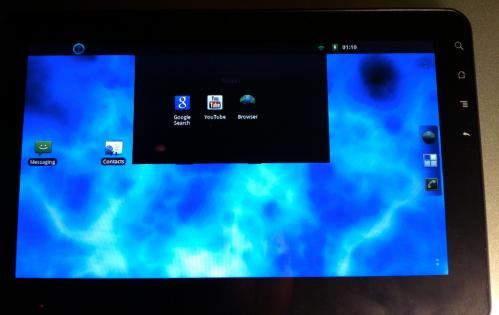 """Recent"" menu on a Viewsonic G tab using CM7."
