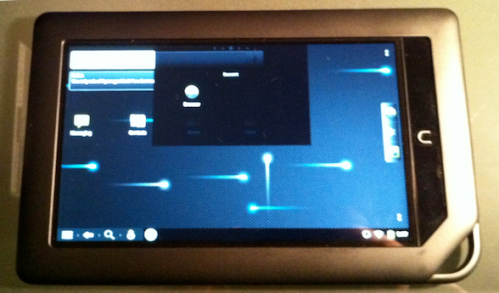 """Recent"" menu on the Nook Color running CM7."