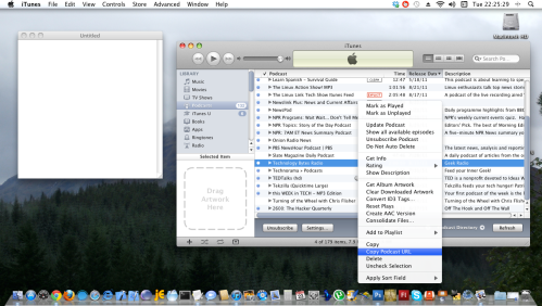 iTunes, select Podcasts in left menu, and right click podcast.