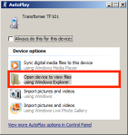 Windows dialog after Honeycomb tablet connected.