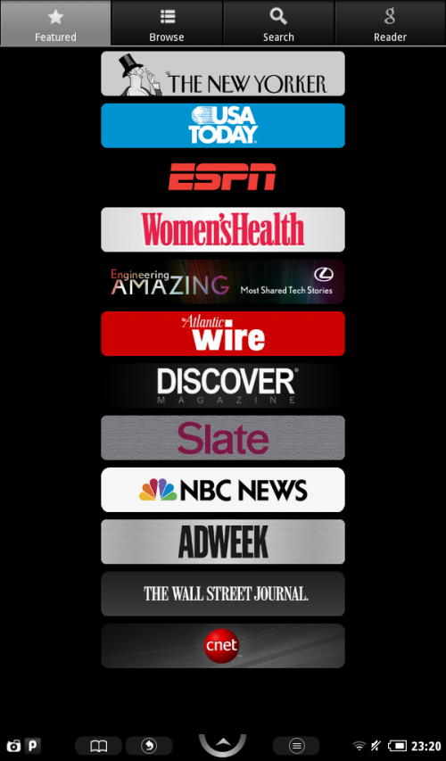 Featured news sources.