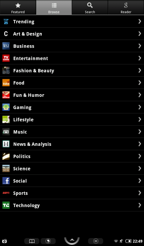 Browse news categories to find a news provider.