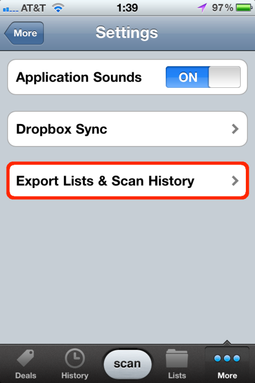 Export item lists and scan history.