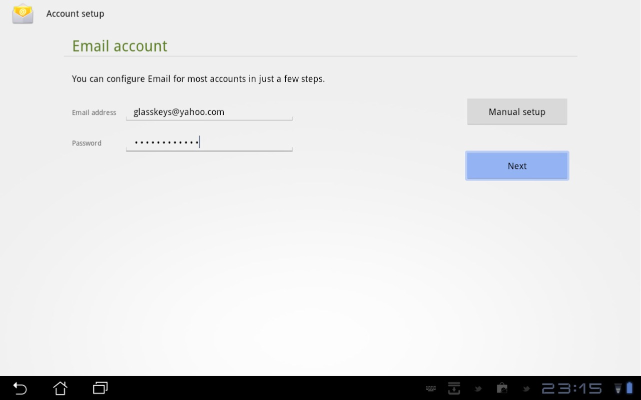 how to add hotmail account in android