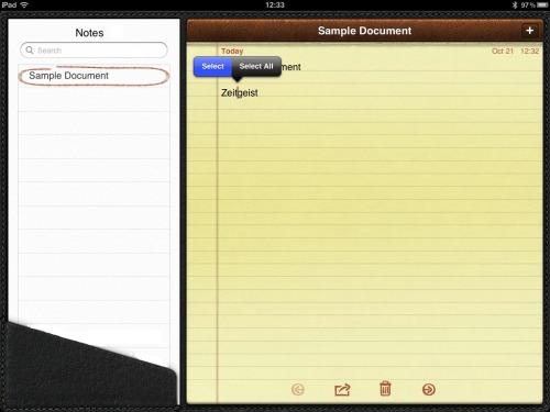 iPad Notes - select a word.
