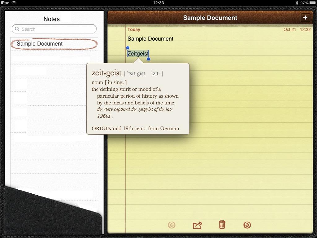 iPad Notes – word definition. | glasskeys.com