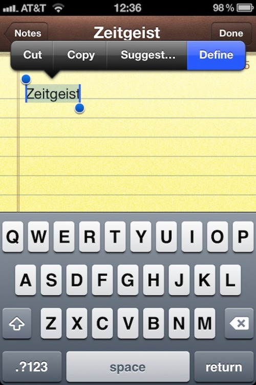 iPhone Notes - tap Define button.