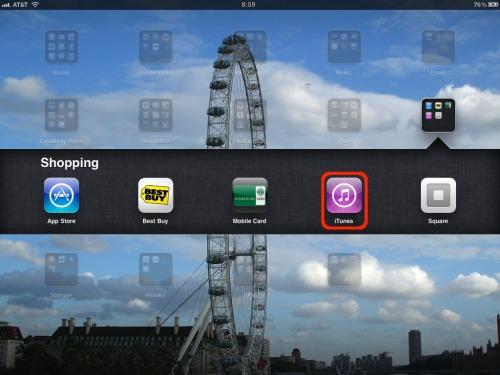 iTunes on the iPad.