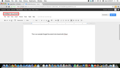 Change Google document name.