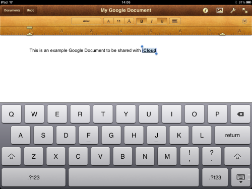 Testing iCloud by bolding and underlining a word.
