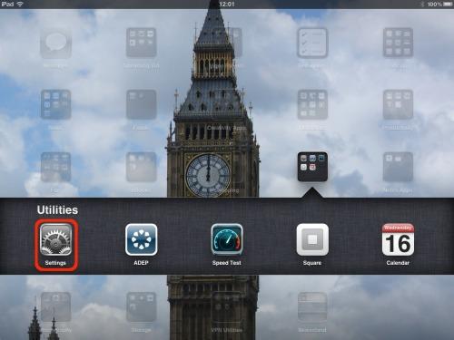 Settings app.