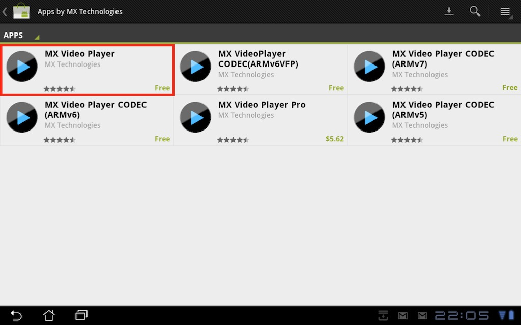 Download MX Video Player from the Android Market