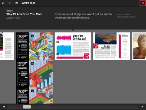 Navigate articles using top right menu button.