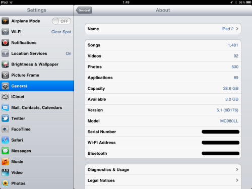 iPad Settings.
