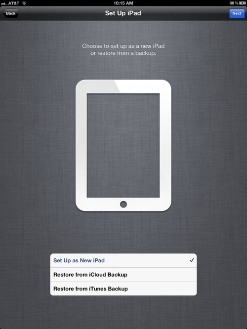Tap Set up as a new iPad.