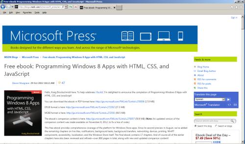 Free Windows 8 programming book  | glasskeys com